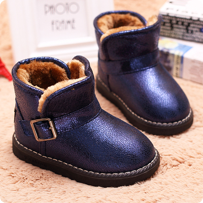 Wisdom like children snow boots plus velvet padded shoes boy girl baby cotton short boots 2014 new winter boots