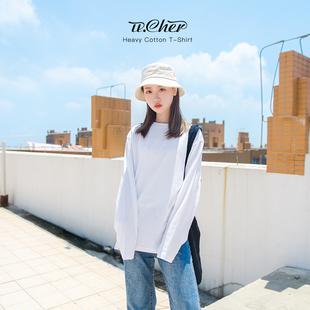纯白色长袖t恤女上衣打底衫纯棉宽松内搭春秋冬女士秋衣