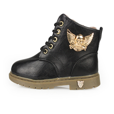 The new girls winter snow boots Martin boots male baby boy shoes boots winter boots children plus velvet boots skull