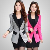 2016春秋新品 韩版修身西装 女通勤外套中长款显瘦小西服 大码