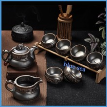 Top live porcelain tea set High-grade ceramic tea set lohas energy Retro rust glaze kung fu tea set
