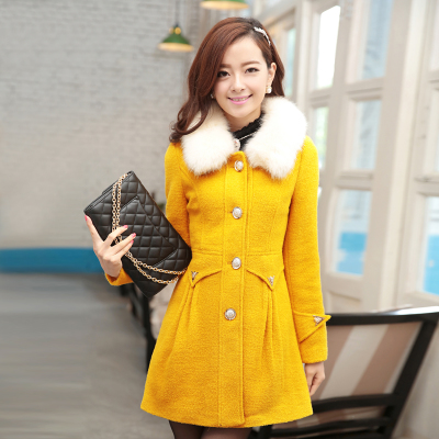2014 Korean version of the new winter woolen coat and long sections Nagymaros collar Slim small fragrant wind woolen coat female tide