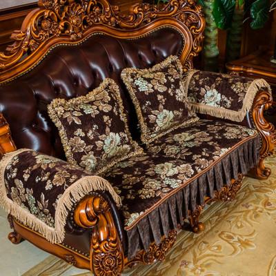欧式沙发垫奢华美式真皮沙发防滑布艺坐垫四季通用123组合三件套