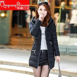 棉服女2016新款冬装女装中长款保暖韩版连帽棉袄大码棉衣外套上衣