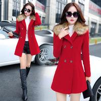 爱尚依佳精品毛呢外套女新款韩版中长款秋冬装大毛领修身呢子大衣