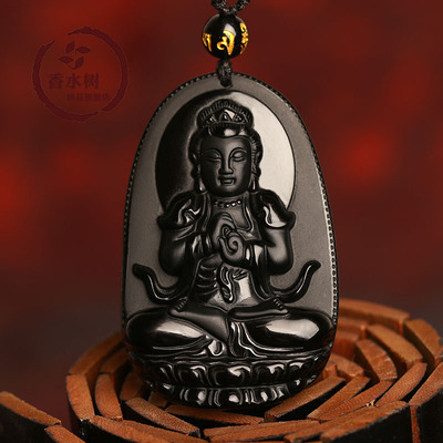 Opening of natural ice kinds of obsidian big day, if the patron saint of the Buddha pendant natal sheep Monkey Buddha pendant men and women