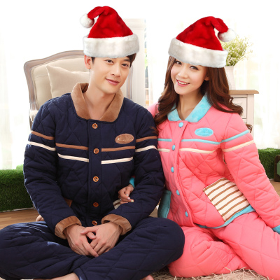Couple autumn and winter long sleeve pajamas thick solid quilted cotton men's pajamas women tracksuit suit