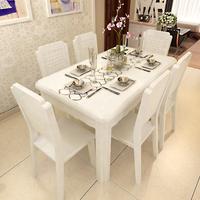 现代简约时尚餐桌椅组合  一桌四椅六椅 钢化玻璃烤漆实木餐桌