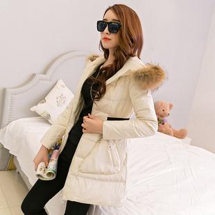 帛柏2015冬季新款女装韩版修身显瘦中长款长袖纯色棉衣配真毛领