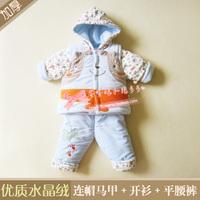 冬装婴儿童男女宝宝加厚纯棉衣服夹棉袄绒卡通马甲三件套装外出服