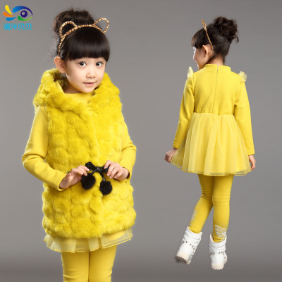 Girls princess skirt three-piece suit for children plus thick velvet 2014 new Korean children's clothing in autumn and winter fur