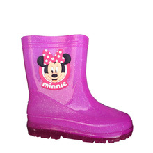 The new fashion children's rain boots Mei red Minnie female child antiskid shoes water crystal Rain boots bag mail