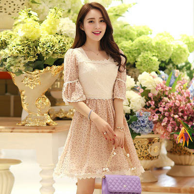 In the summer of 2015 the new women's day is a sweet rural small and pure and fresh flower bud silk of tall waist cultivate one's morality chiffon dress