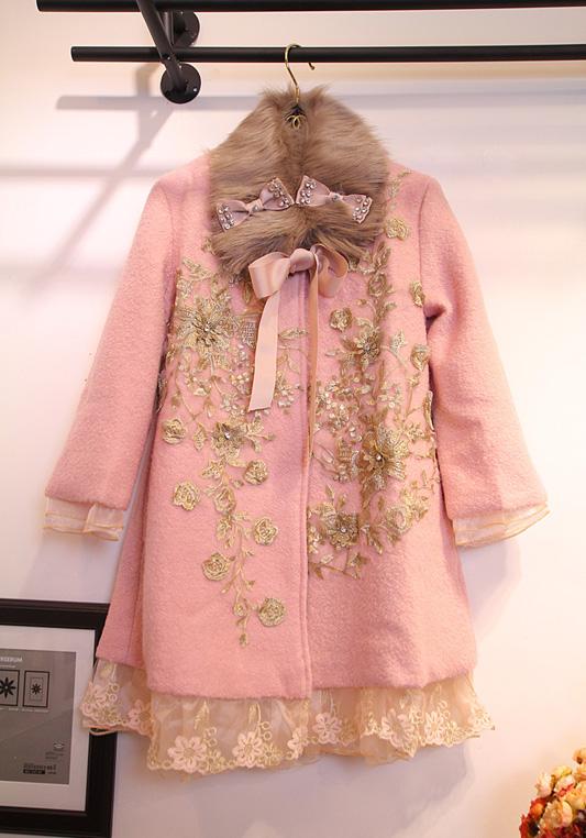 韩国东大门代购冬装新款蝴蝶结水钻金丝玫瑰蕾丝刺绣毛呢大衣外套