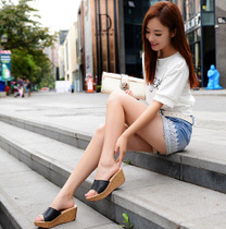 2017新款韩版拖鞋女夏时尚厚底高跟平底防滑外穿百搭松糕一字拖潮