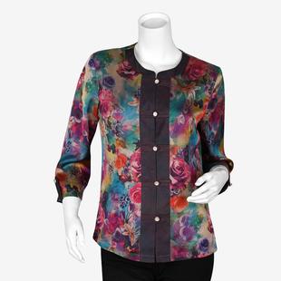 夏季新款特价中老年女装气质妈妈装夏装老年香云丝七分袖衬衫2681