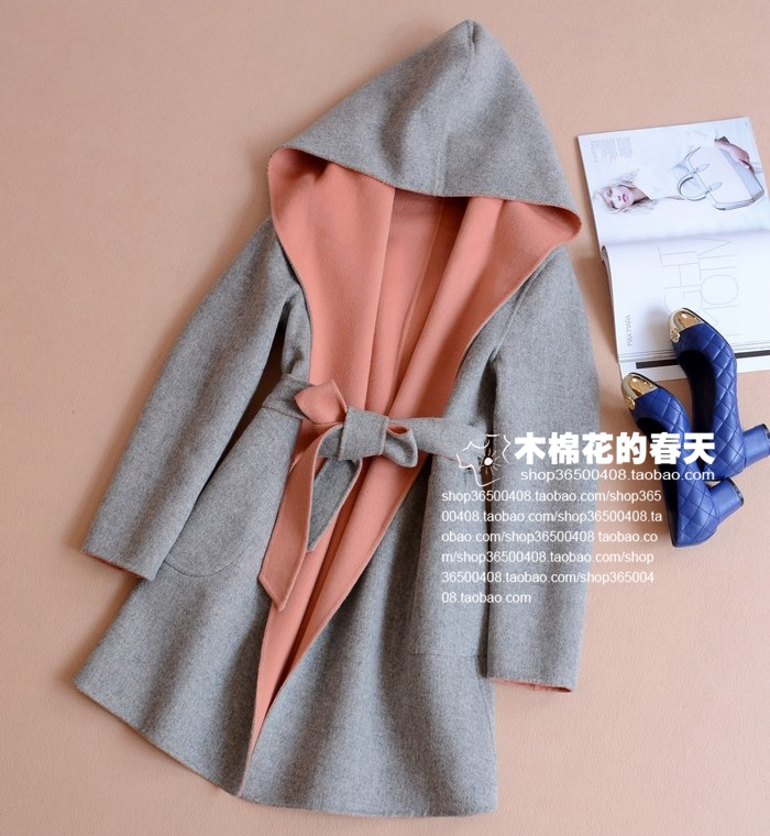 European and American brands 2014 autumn cattle cargo manual double-sided cashmere coat large size women fat mm long sections woolen coat