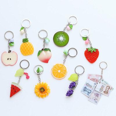 韩版卡通灯钥匙环可爱水果女公仔包包挂件汽车钥匙链扣腰挂饰品