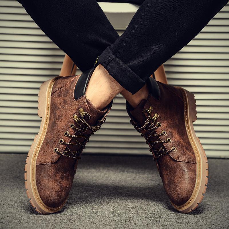 马丁靴男士短靴皮靴子男鞋棉鞋英伦军靴工装高帮雪地冬季加绒保暖