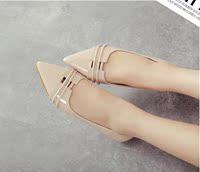 2015秋季新款韩版内增高尖头单鞋平底鞋 浅口漆皮休闲单鞋瓢鞋女
