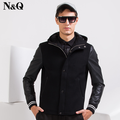Knoch menswear new winter 2014 men's hooded wool coat jacket male PU stitching 17019B5