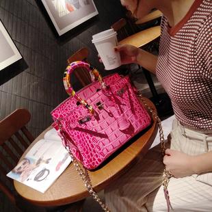 欧洲站手提斜挎女包杂志款鳄鱼纹牛皮铂金包欧美时尚真皮链条小包