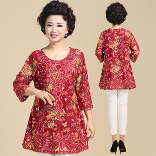 中年女装民族风蕾丝绣花打底衫春秋季胖妈妈七分袖打底衫加肥加大