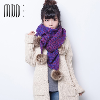 Da da US shipping 2014 new winter thick wool scarves wool balls knitted scarf Korean Ms. increase
