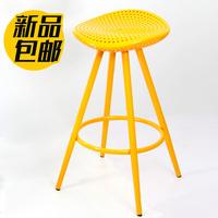 时尚简约欧式铁艺酒吧椅 仿实木高脚凳 转椅吧台椅前台收银吧台凳