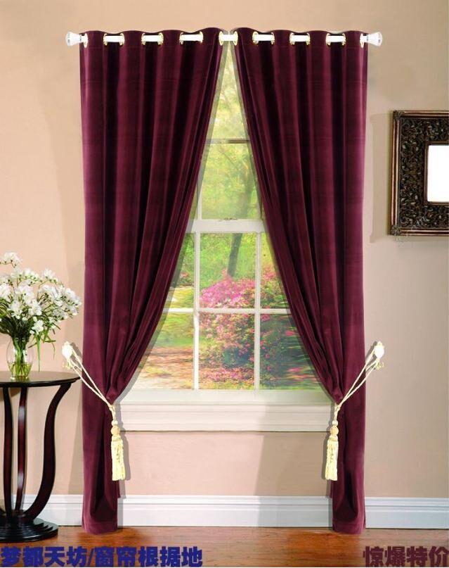 窗帘幔头裁剪_高档欧式丝绒布窗帘加厚遮光卧室客厅特价布料纯色成品酒红色