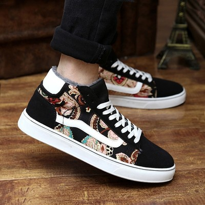Autumn and winter men's casual shoes, sports shoes Korean male cotton-padded shoes plus velvet big yards tide Lin curved men shoes