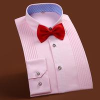 春季结婚衬衫男士长袖粉色新郎衬衣修身纯色伴郎服法式衬衫演出服