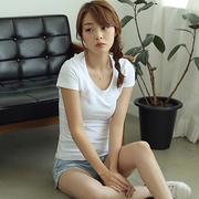 简单纯色棉质弹力T恤女显瘦短袖百搭上衣夏纯色时尚t