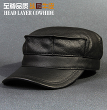 The new top head layer cowhide hat man leather qiu dong warm earmuffs octagonal cap flat caps, fashion