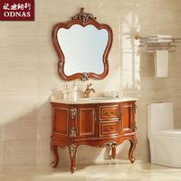 欧式仿古橡木梳洗柜实木落地高脚卫浴柜大理石洗脸洗手台镜柜组合