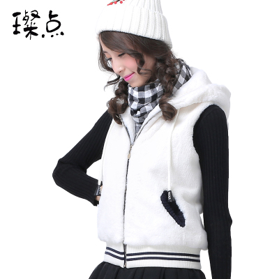 Can Point 2014 autumn and winter influx of Korean women vest stuffed plush hooded vest vest girls high school students
