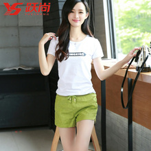 Yue is 15 letters printed cotton T-shirt in summer The fashion leisure cotton pants suit female tide fluctuation outfit fleece