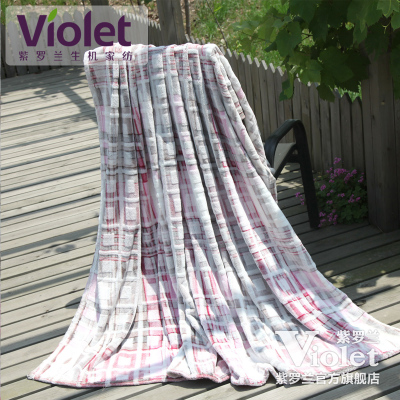 Violet striped textile coral fleece blanket air conditioning blanket blanket blanket blanket cool spring and summer shipping era rhythm
