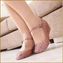 [限时特惠] 2015新款夏季女坡跟凉鞋镂空水晶塑料花朵凉鞋洞洞鞋中根果冻鞋女