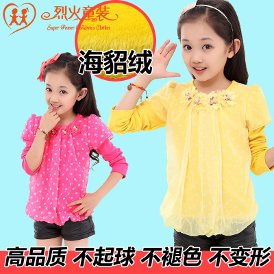 Kids 2014 fall and winter clothes for girls bottoming shirt plus thick velvet warm cashmere is not inverted t-shirt long-sleeved shirt tide children