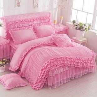 公主纯色蕾丝床裙床罩式四件套纯色花边被套床套多件1.5 1.8m