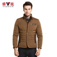 yaloo雅鹿男士装饰口袋立领短款ag8亚|平台无帽修身保暖外套图片