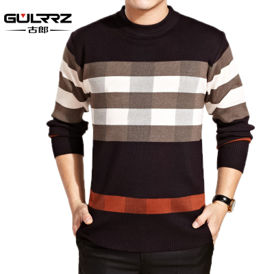 2014 winter new men middle-aged men round neck striped sweater thick sweater warm sweater