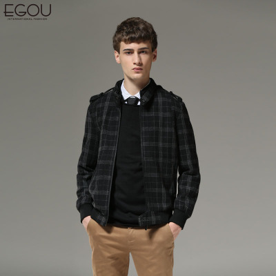 New winter 2014 men's classic EGOU Houndstooth wool coat collar woolen jacket G30142