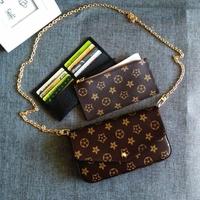 新款欧美潮复古老花信封包迷你链条单肩斜挎女包零钱包卡包三件套