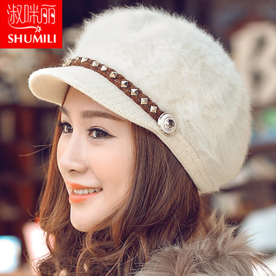 Winter hat female Korean tidal warm rabbit fur hat knitted beret wool hat winter days, Ms. fashion