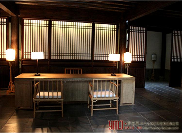 中式明清新仿古典榆全实木办公接待服务收银台案桌图片