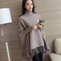 韩版秋冬新款女装针织衫衫套头高领加厚修身针织打底毛衣麻花上衣