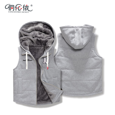 Young students loaded winter ladies vest jacket sportswear casual tracksuit cardigan hooded pocket sweater tide