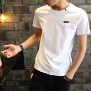 2019夏季男士短袖t恤青少年圆领半袖白体恤潮流男装帅气上衣纯色